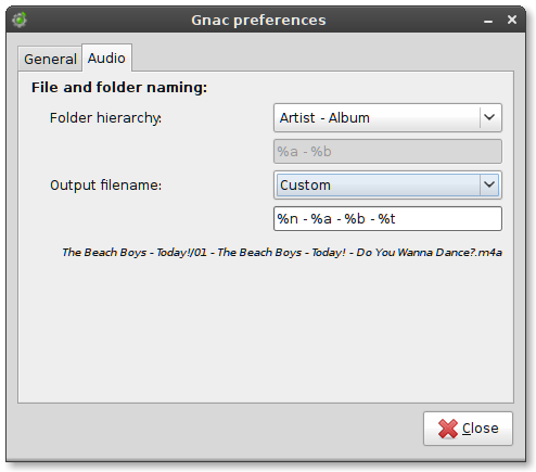 The preferences menu, Audio tab