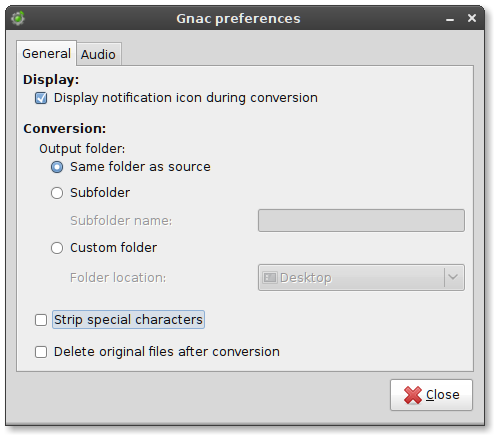gnac preferences screenshot
